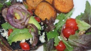 Vegetarian Bbq:  Eggplant Portobello Mushroom Burger, Sweet Potato Fries, And Side Salad