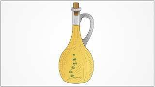 How to draw Oil oil container for kitchen for kids step by step