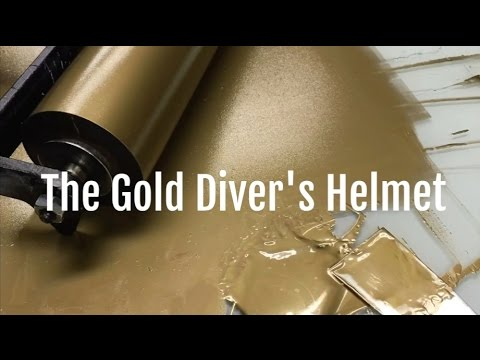 Letterpress Printing a Gold Divers Helmet on an Etching Press