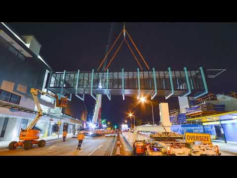 Time lapse footage of the Brookvale pedestrian bridge installation on September 27 2019