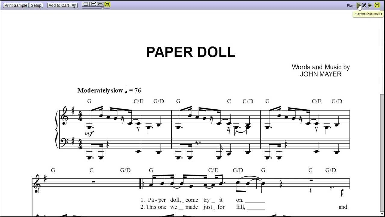 John Mayer - Paper Doll Piano Sheet Music [Teaser] - YouTube