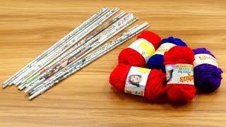 Newspaper & woolen Craft Idea   DIY Home Decor   Newspaper & cardboard reuse idea