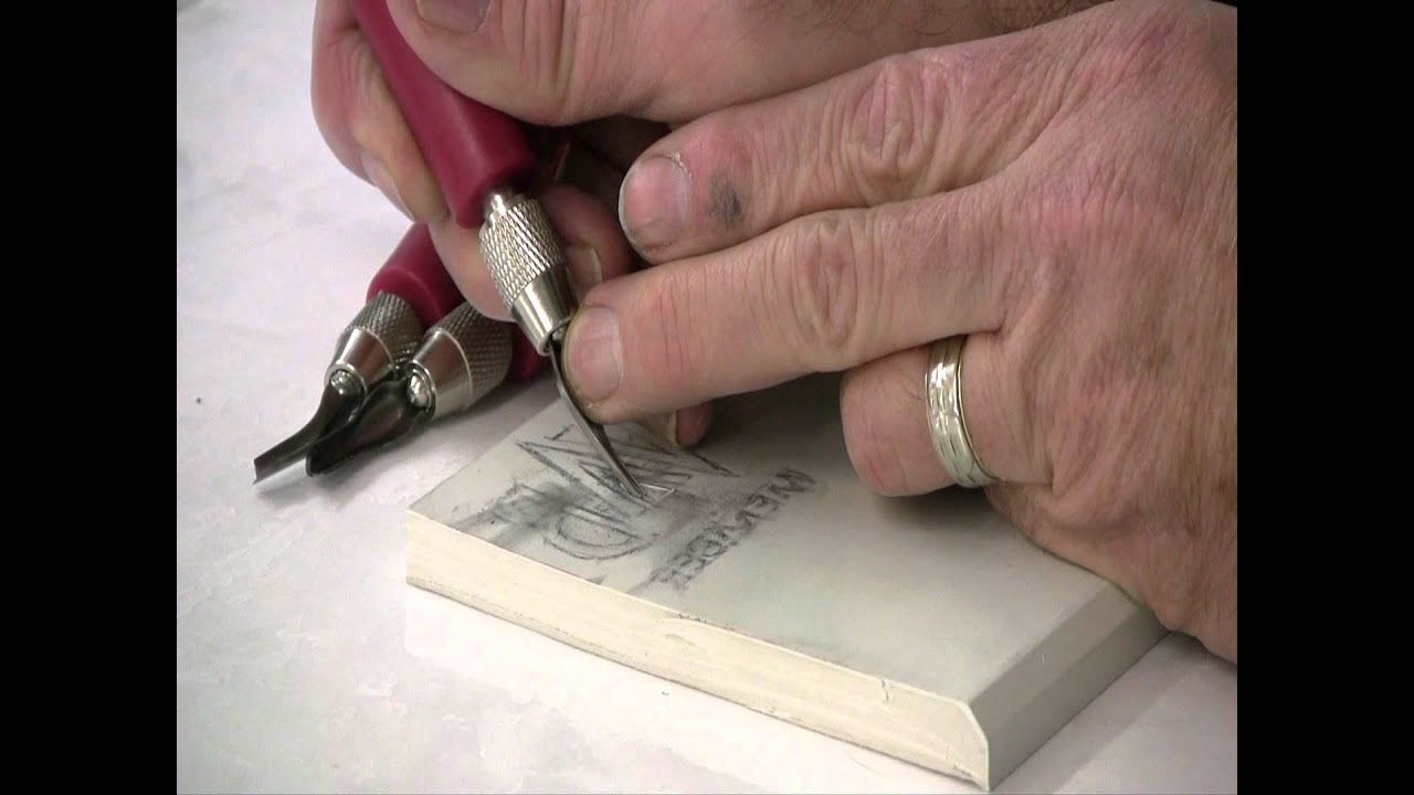 Preparing and carving a lino block printmaking with keith moreau