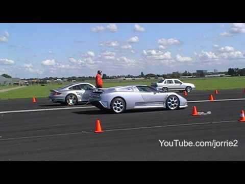 997 Turbo vs. Bugatti EB110 SS airstrip dragrace!