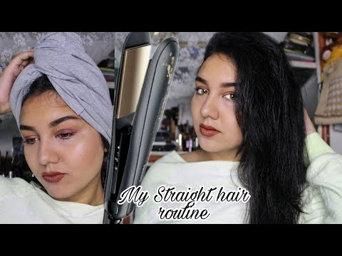 HAIR STRAIGHTENING ROUTINE (products i use) | SLEEK STRAIGHT HAIR TUTORIAL