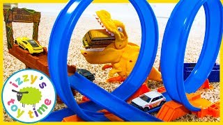 Cars for Kids! Metal Machines T-Rex Dinosaur with Hot Wheels! Videos for Children