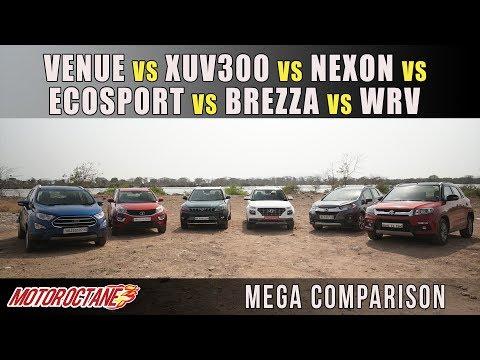 Hyundai Venue vs XUV300 vs Tata Nexon vs Vitara Brezza vs Ecosport vs WRV | MotorOctane