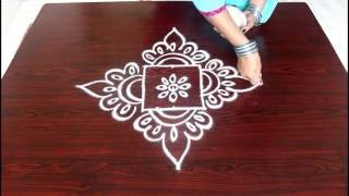 beginners kolam designs with 3x3 dots- muggulu designs for beginners- easy rangoli designs with dots