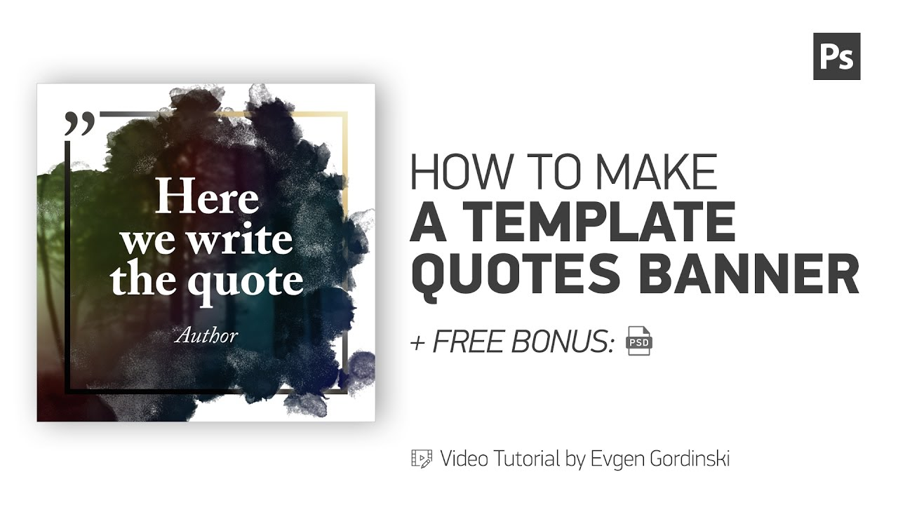 Template Quotes Banner Free Psd Photoshop Tutorial Youtube