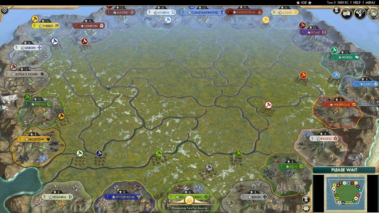 Civ 5 AI Only Timelapse: March of Empires