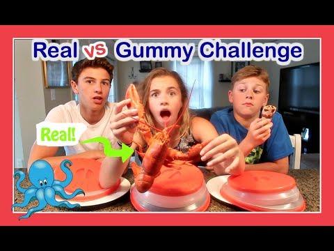 REAL FOOD 😖 VS GUMMY FOOD 🍒 CHALLENGE | Flippin' Katie