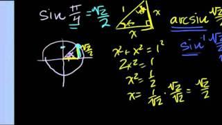 Обратные тригонометрические функции - арксинус