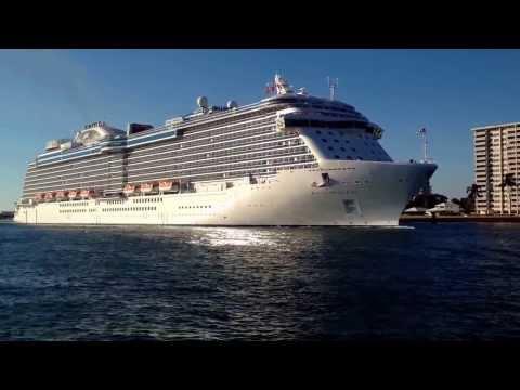 Royal Princess Leaving Port Everglades, Love Boat Horn!!!