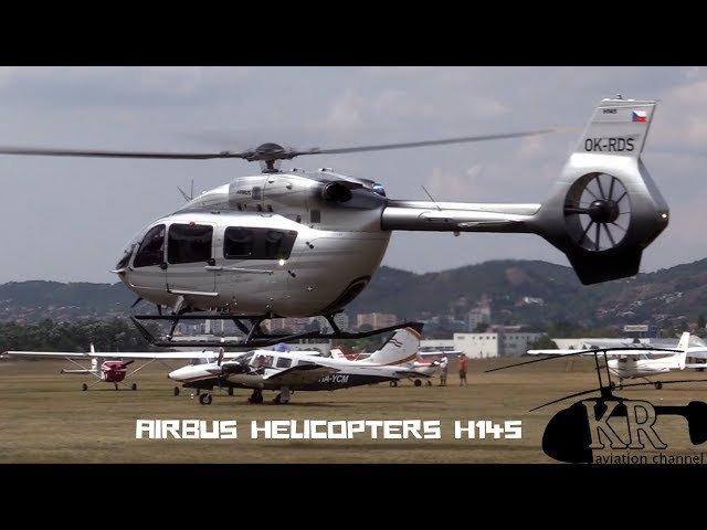 VIP Airbus Helicopters H145 startup and take off at Budaörs airfield