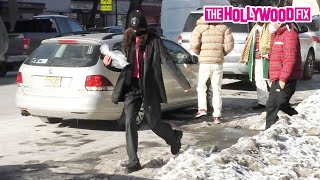 Bella Hadid Tries Not To Fall While Stomping Through The Snow After Lunch At Bar Pitti In New York