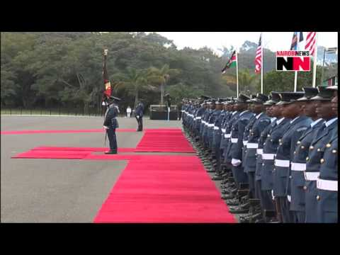 US President Barack Obama inspects guard of honour at State House
