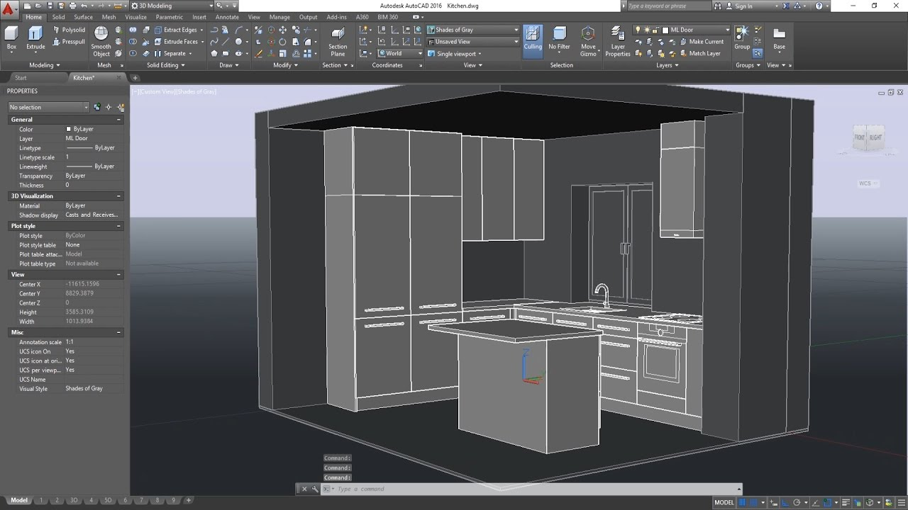 3d basic kitchen in autocad cabinets modeling youtube for Autocad kitchen cabinets