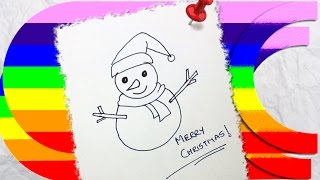 how to draw a cartoon christmas snowman Thumbnail