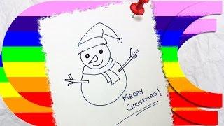 how to draw a cartoon christmas snowman Thumbnail
