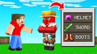 Buying OP ITEMS From VILLAGERS In MINECRAFT (And beat the game!)