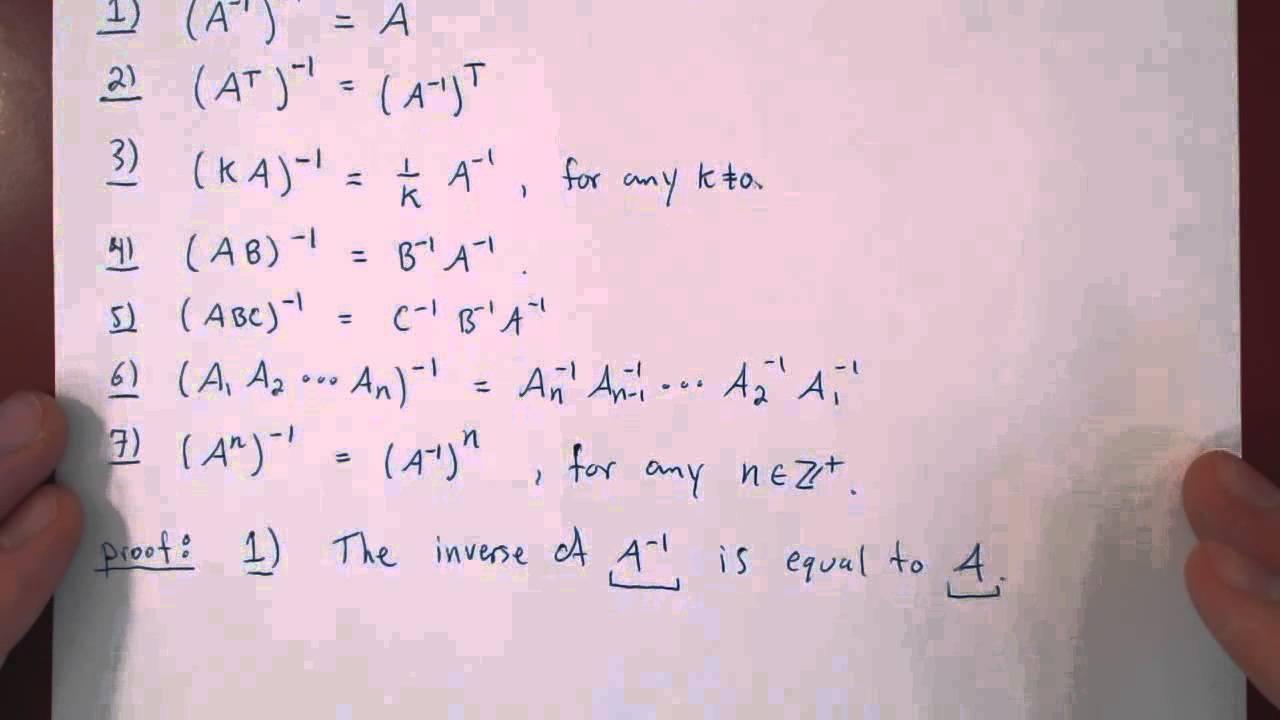 Matrix Inverse - Properties