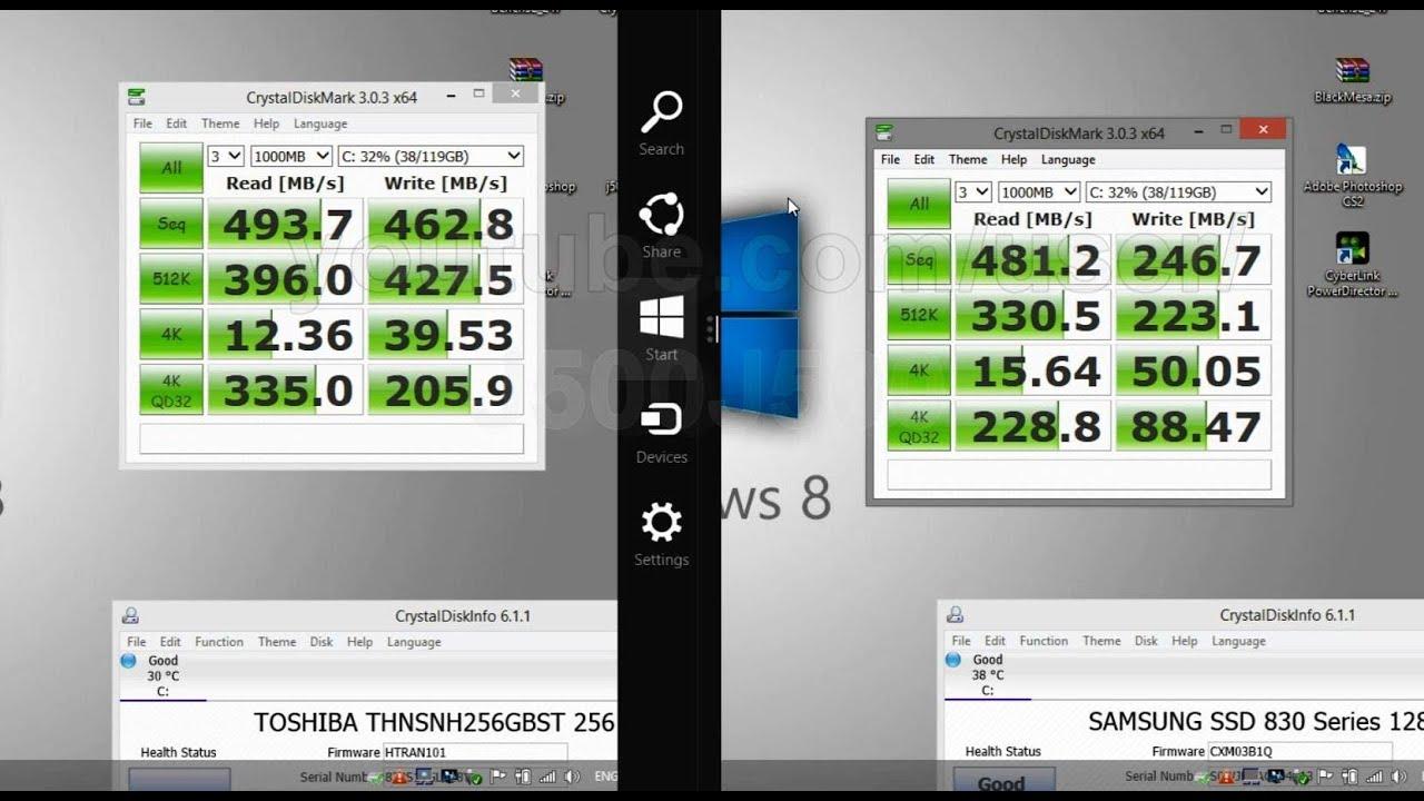 Toshiba SSD Q & Samsung SSD Test Benchmark on Windows 8 1