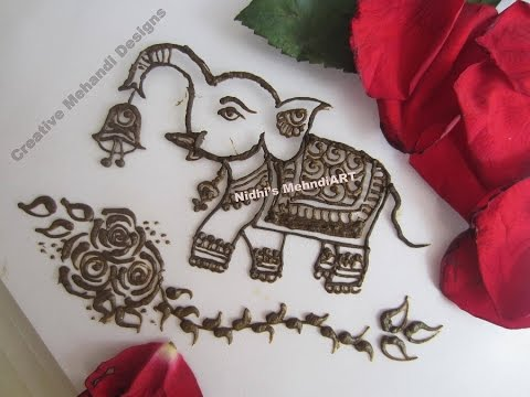 How To Draw Elephant Animal In Henna Mehndi Design Tutorial Youtube