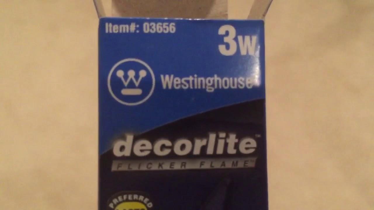3 Watt Flicker Flame Light Bulb Candelabra Base Westinghouse 03656-3CA8//FLK//DECOR