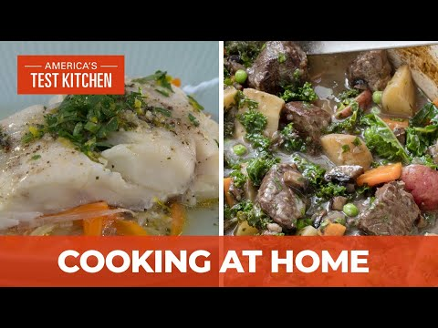 How to Make Hearty Beef and Vegetable Stew and Cod Baked in Foil with Leeks and Carrots