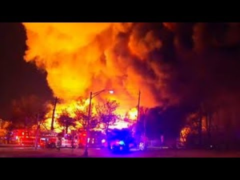 Firefighters battle 7-alarm fire at Marcal Plant in Elmwood Park