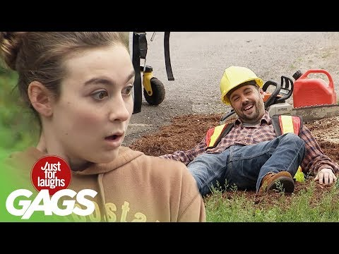 Construction Worker Sawed in Half - Just for Laughs Gags