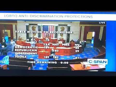 Equality Act Prohibiting LGBTQ Discrimination Passes 224 - 206 With Three Republicans Joining Dems