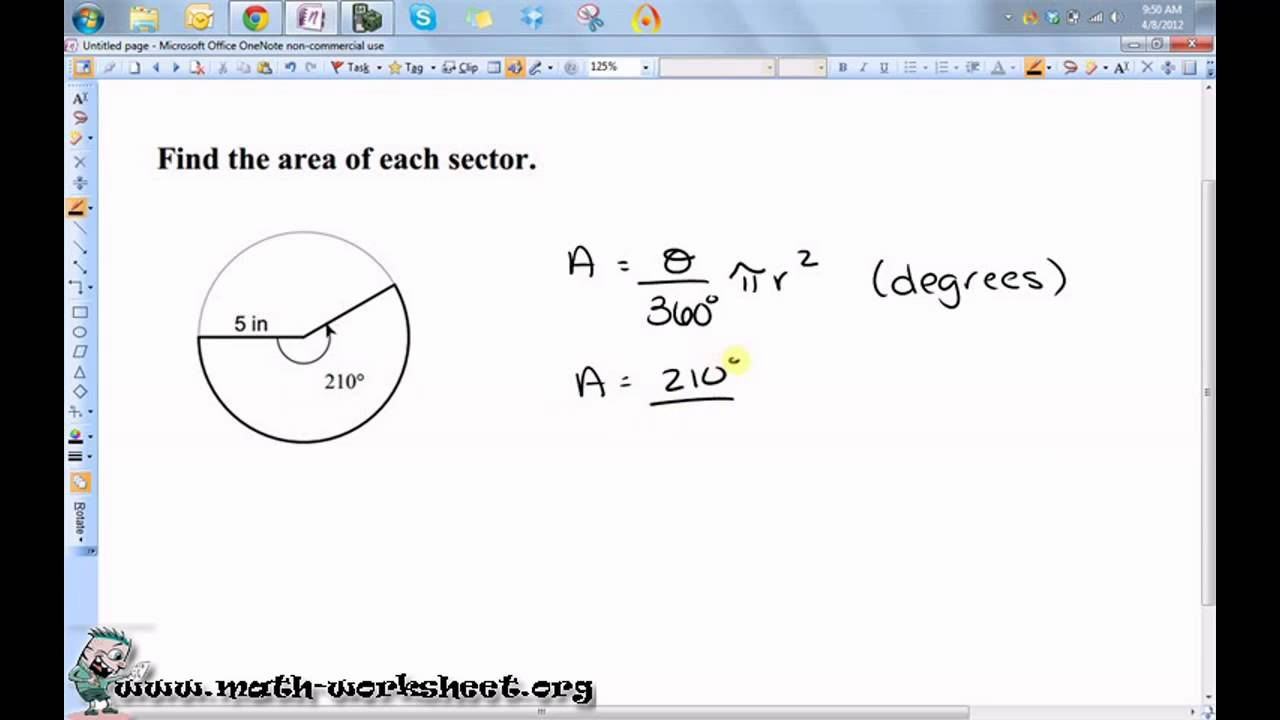 Worksheets Area Of A Sector Worksheet geometry circles arc length and sector area medium youtube math worksheets