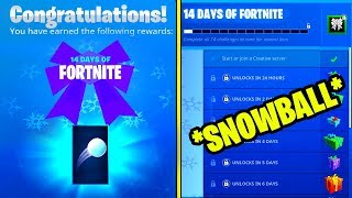 NEW FORTNITE SNOWBALL TOY REWARD - 14 DAYS OF FORTNITE CHALLENGES ( FREE REWARD DAY 3)