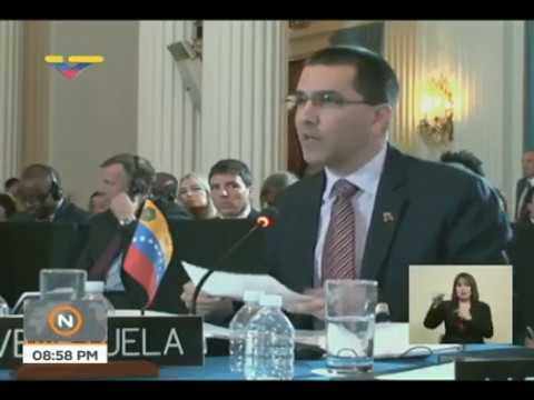 Canciller de Venezuela Jorge Arreaza condena resolución ilegal en OEA, 5 junio 2018