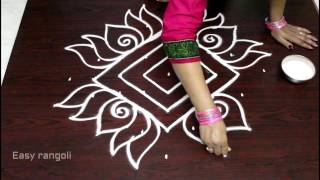 rangoli  designs with 9x1 dots || lotus muggulu designs || kolam designs ||easy rangoli art designs