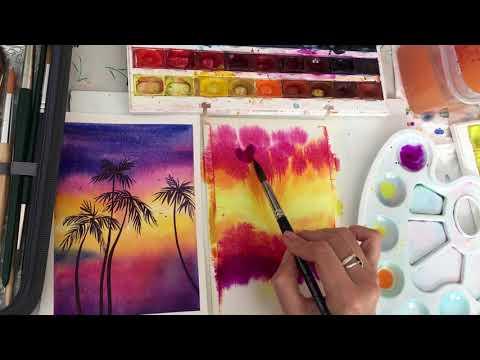 Рисуем пальмы акварелью. Простой урок.