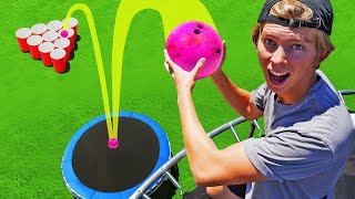 Bowling Ball Bounce off TRAMPOLINE TOWER! *GIANT CUP PONG*