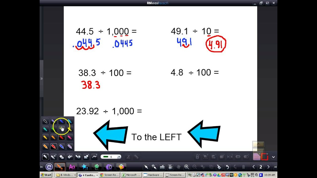 Dividing decimals by 10 100 1000 youtube geenschuldenfo Images