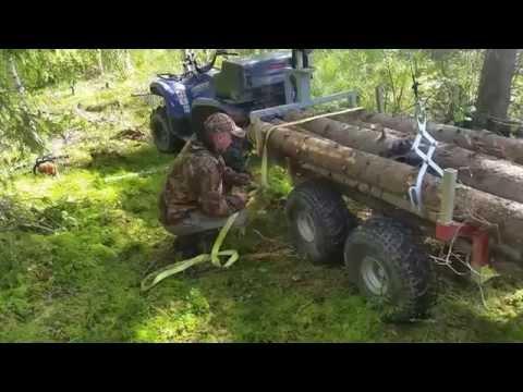 ATV log trailer Logging with Yamaha Grizzly and Stihl