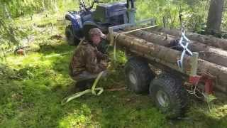 atv log trailer logging with yamaha grizzly and stihl