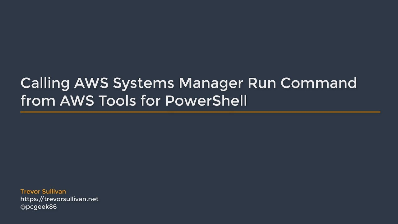 Calling AWS Systems Manager Run Command from AWS Tools for PowerShell