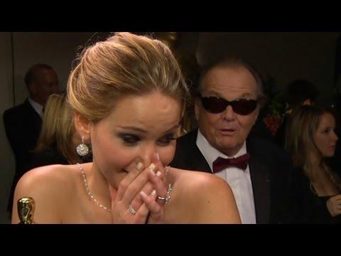 Jennifer Lawrence Interrupted by Jack Nicholson at Oscars   Good Morning America   ABC News