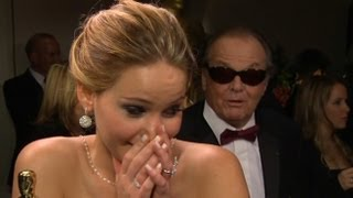 Jennifer Lawrence  Nterrupted By Jack Nicholson At Oscars  Good Morning America  ABC News