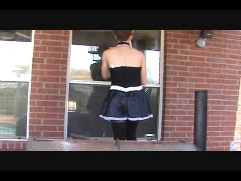 Sissy Maid just cleaning some windows outside