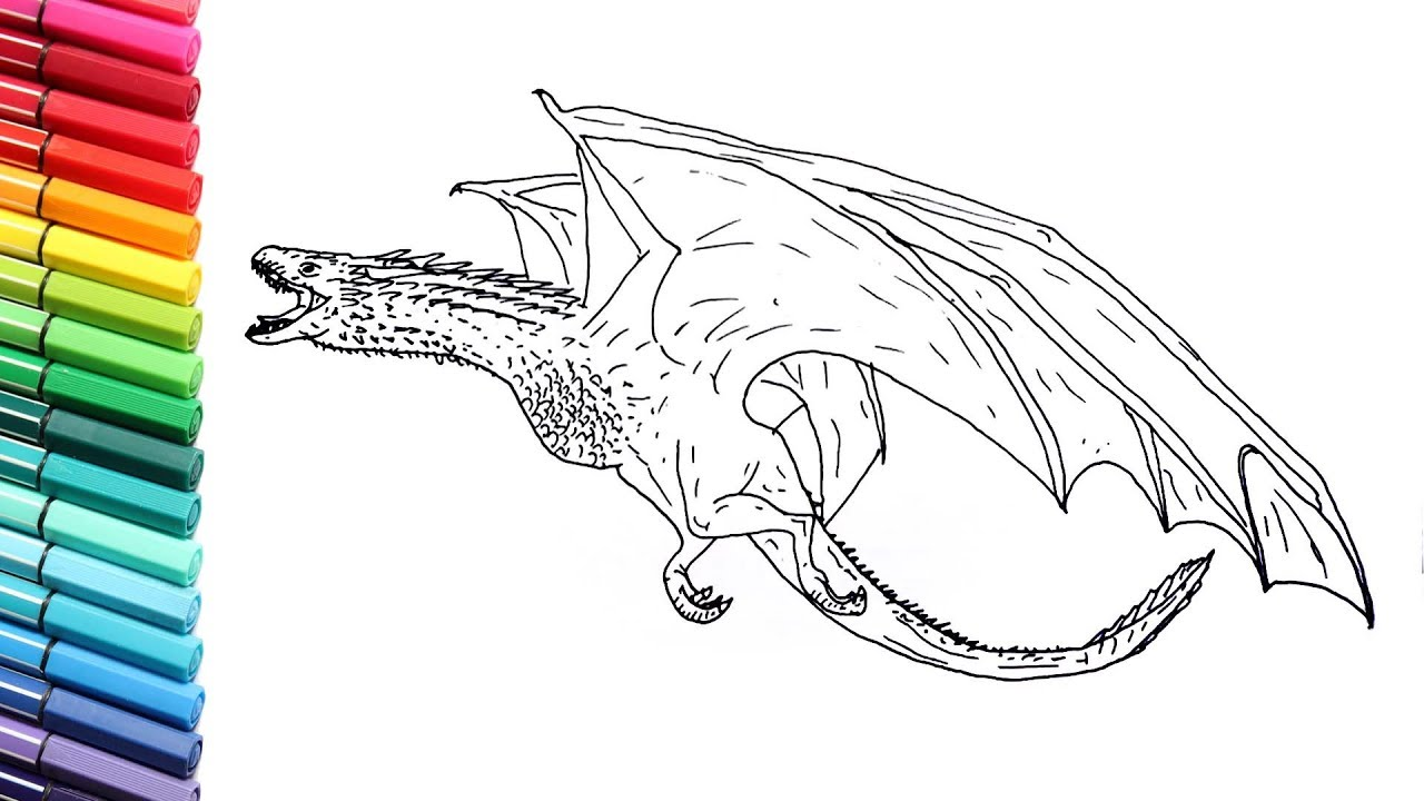 How to Draw Dragon From Game of Thrones - Drawing and Coloring Drogon -  Color pages for Kids