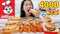 4,000 Calories Jollibee Feast! Chicken Joy, Jolly Hotdog, Aloha Burgers, Spicy Fried Chicken Mukbang