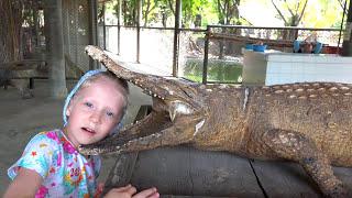 Большой ВЛОГ Даня ПЛАЧЕТ Обычная еда для Крокодила кормим живого крокодила Огромный слон для детей