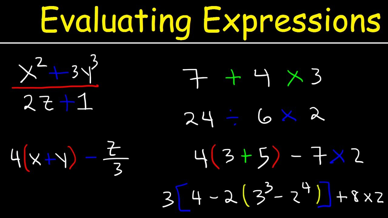 worksheet Pre Algebra Expressions evaluating expressions with variables fractions and exponents pre algebra order of operations