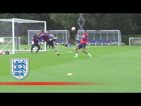 Sublime Phil Jagielka volley during England training